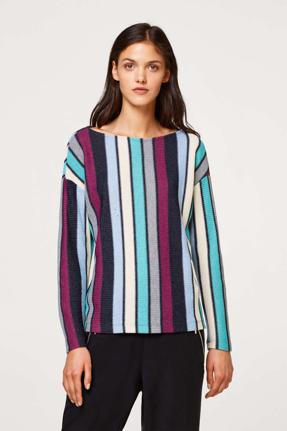 Esprit - Sweatshirt with multi-coloured stripes