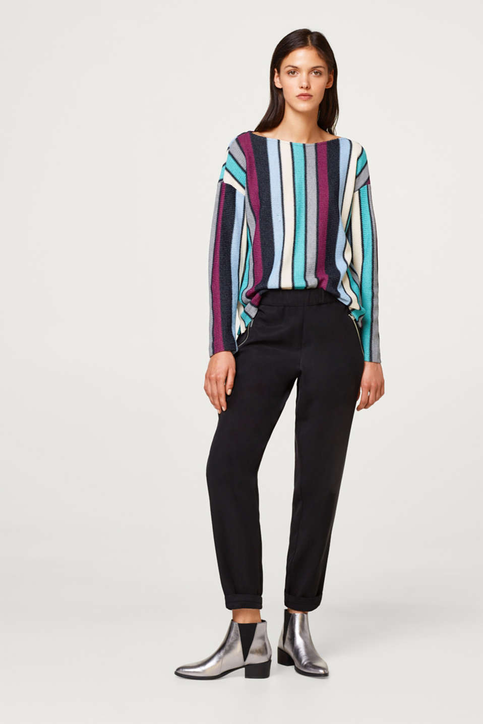 Sweatshirt with multi-coloured stripes