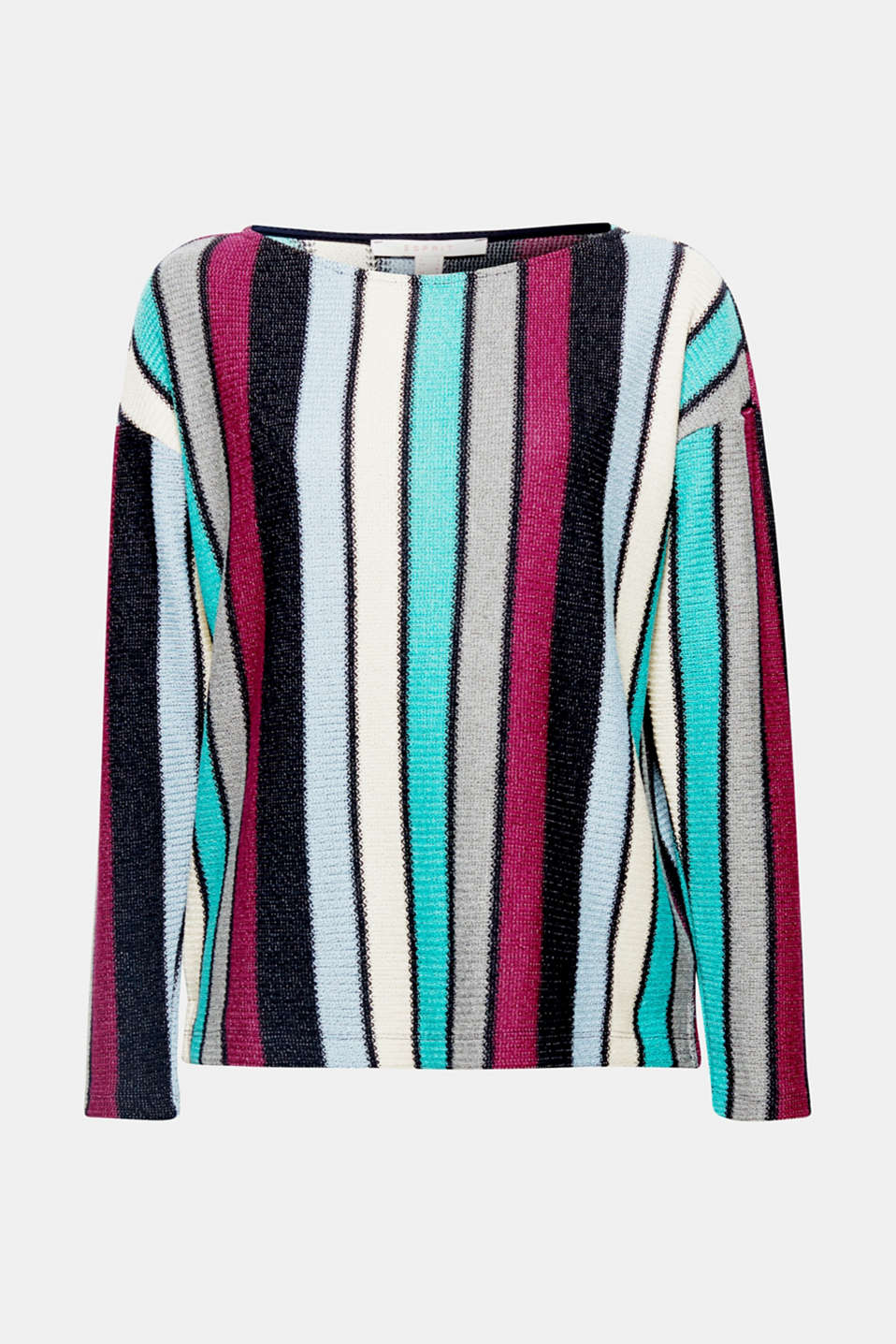 This sweatshirt comes in a casual, elegant look. Its multi-coloured vertical stripes are accentuated particularly beautifully by its linear design.