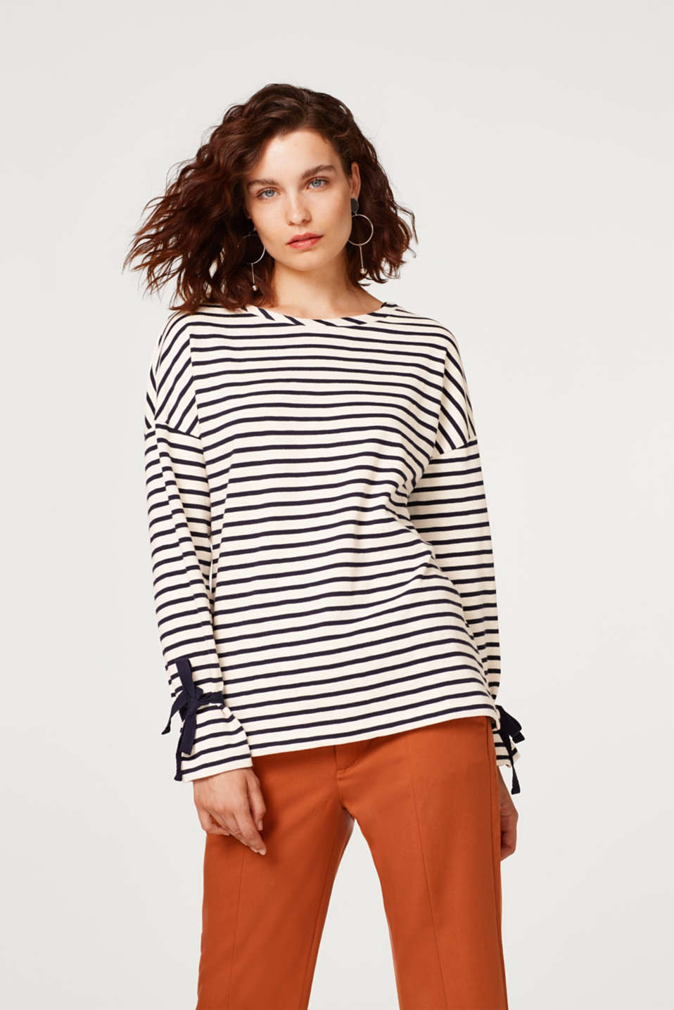 Esprit - Striped jumper with decorative ribbons