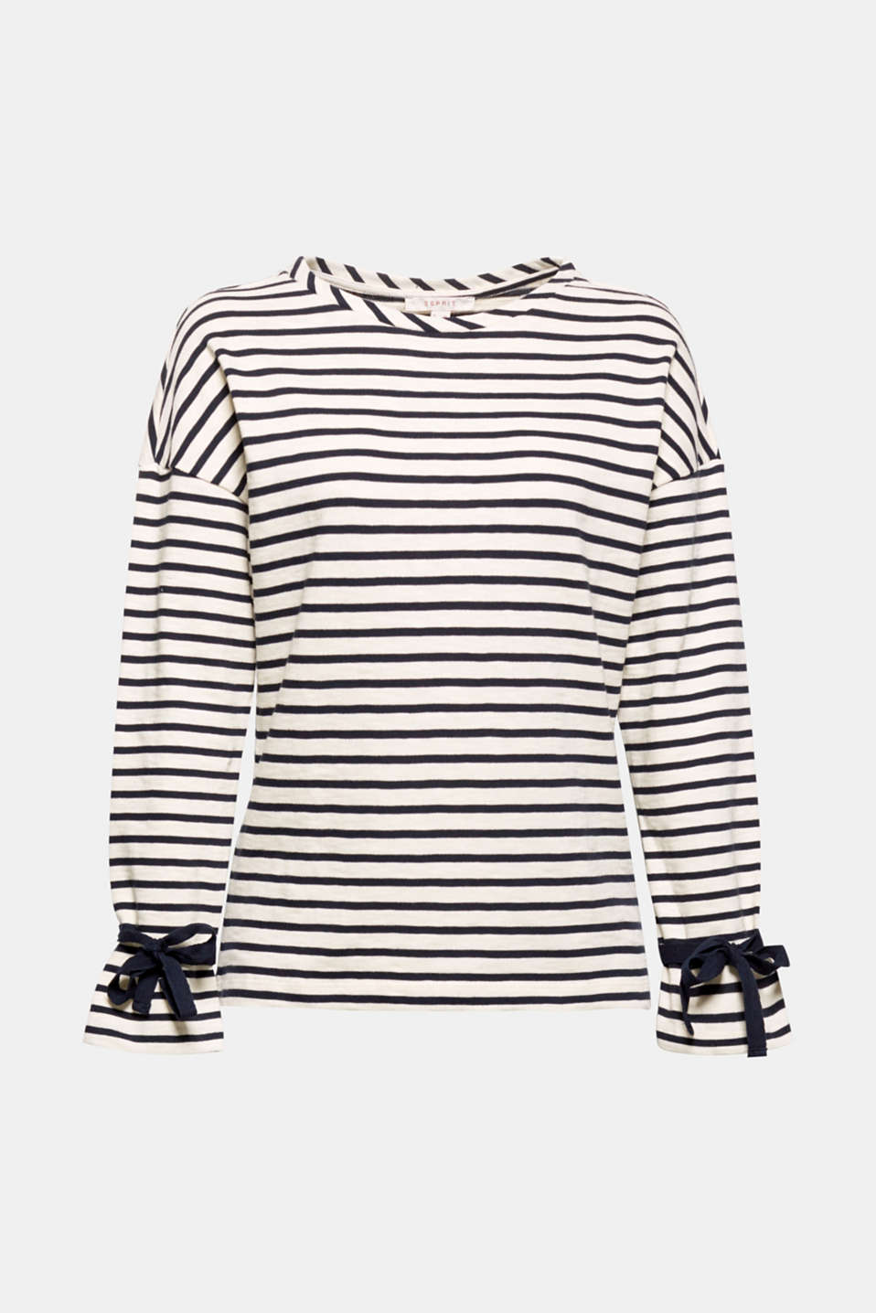 Striped design with fresh bow details! This jumper with decorative ribbons on both sleeves instantly conjures up a unique nautical look.