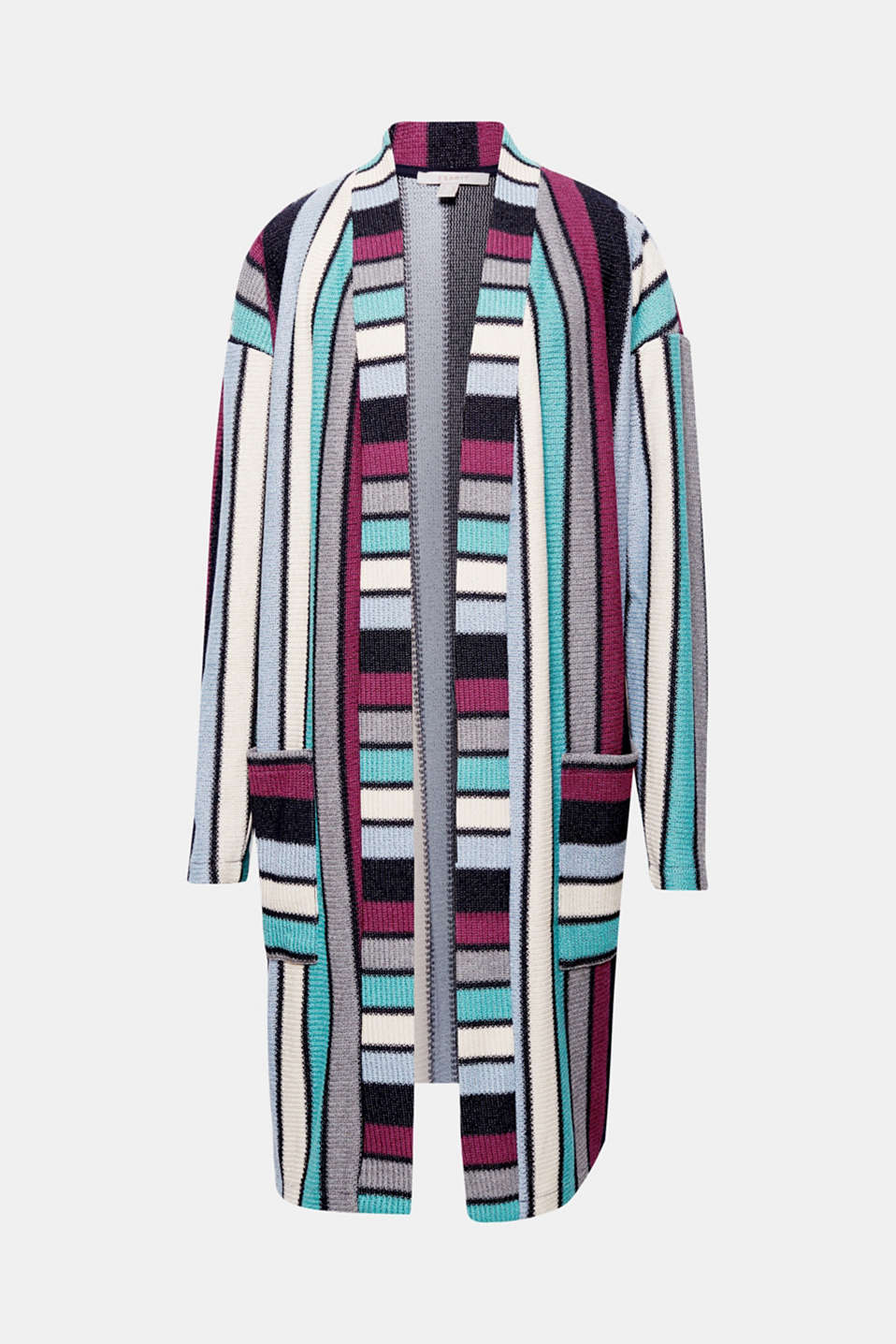 You will be making a fantastic fashion statement in this loose and graphically striped knit jacket with a long silhouette.