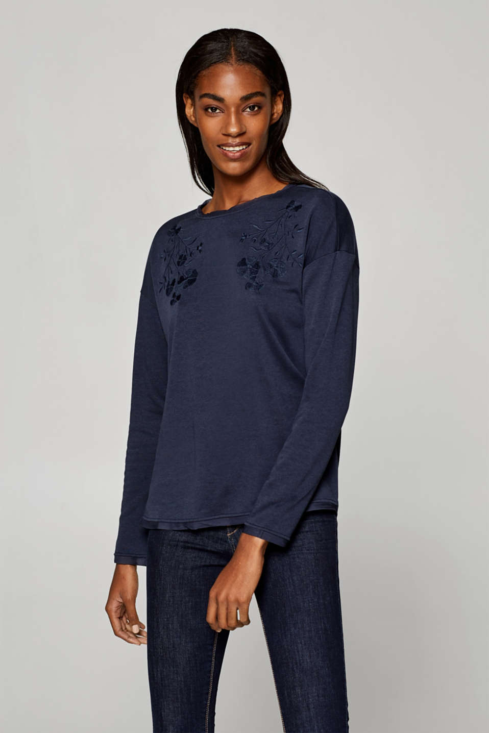 Esprit - Embroidered long sleeve top with chiffon details