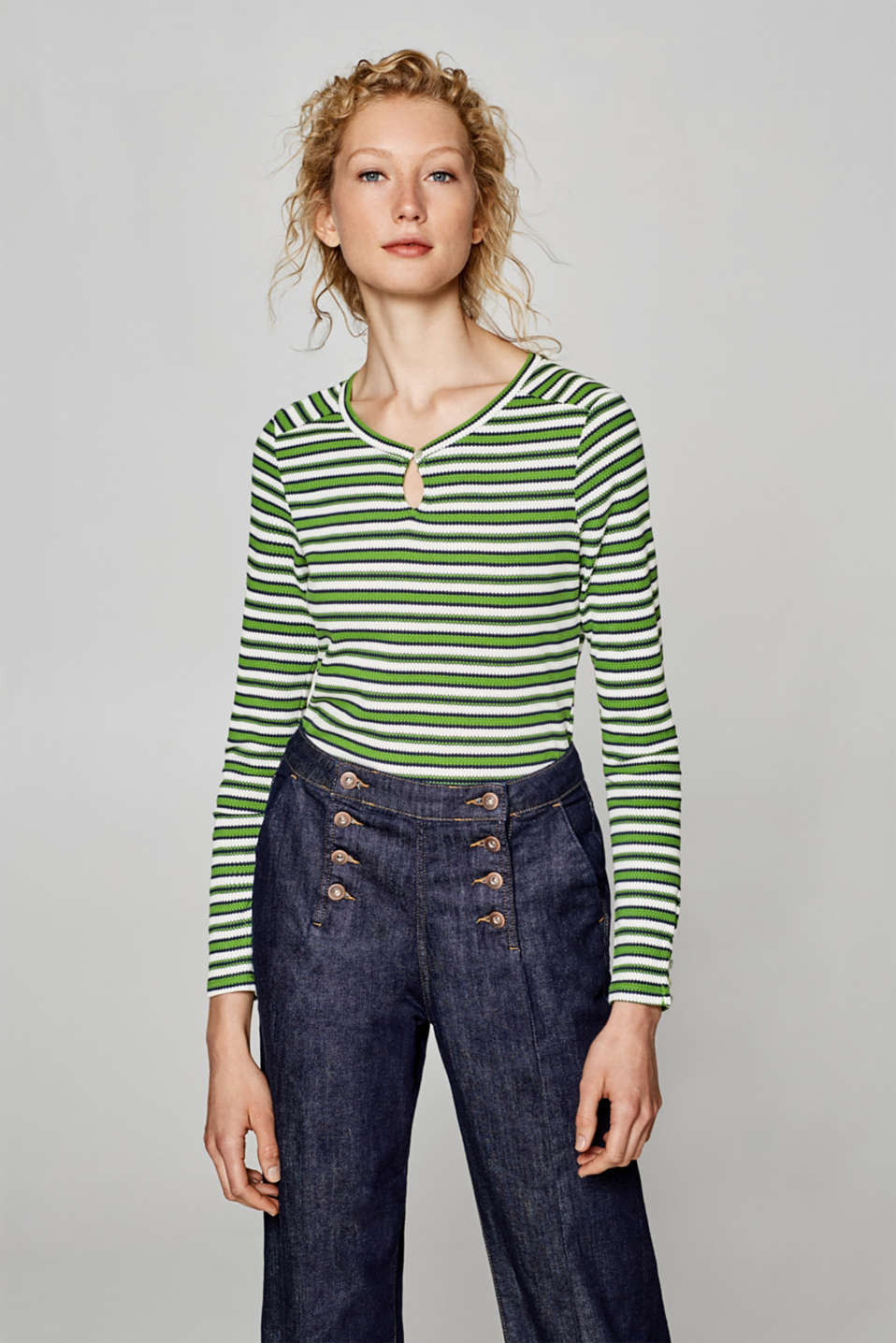 Esprit - Striped long sleeve top with texture, 100% cotton