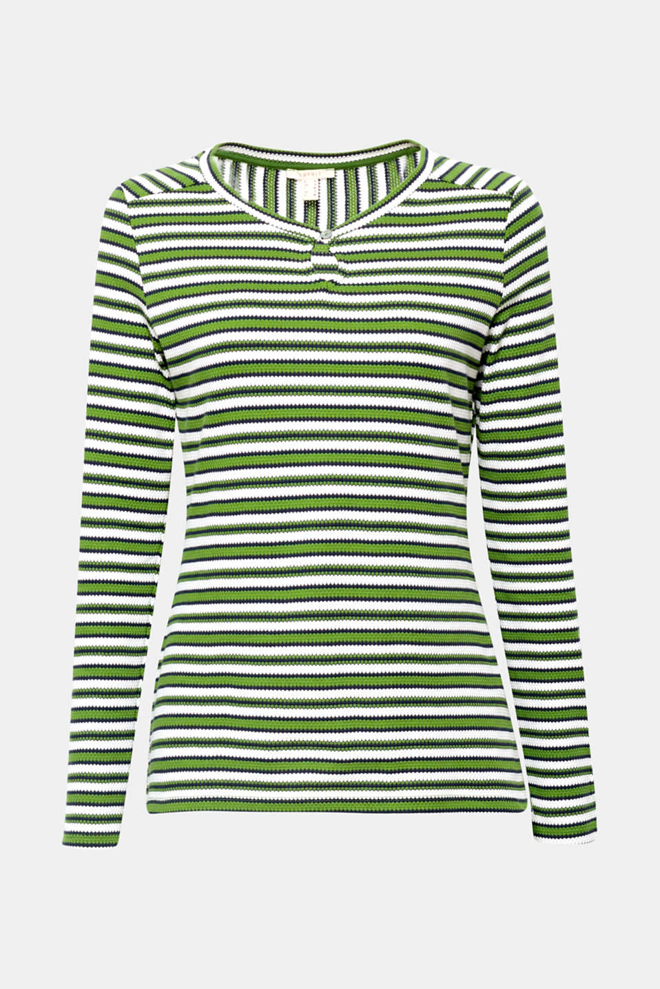 The keyhole cut-out and decorative buttons on the sleeve ends give this textured, striped long sleeve top its feminine charm!