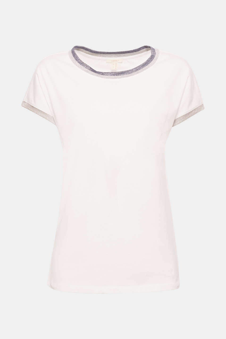 Sporty with a shot of glitter: the decorative trims on the neckline and sleeves give this cotton T-shirt its new look!