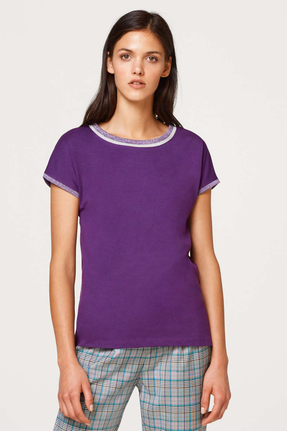 Esprit - Cotton T-shirt with glitter trims