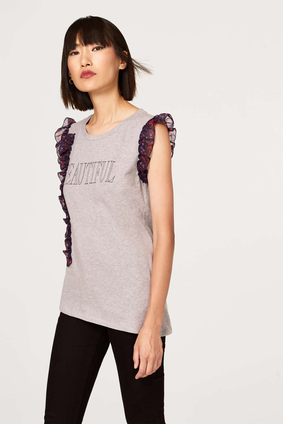Esprit - Asymmetric print top with frills