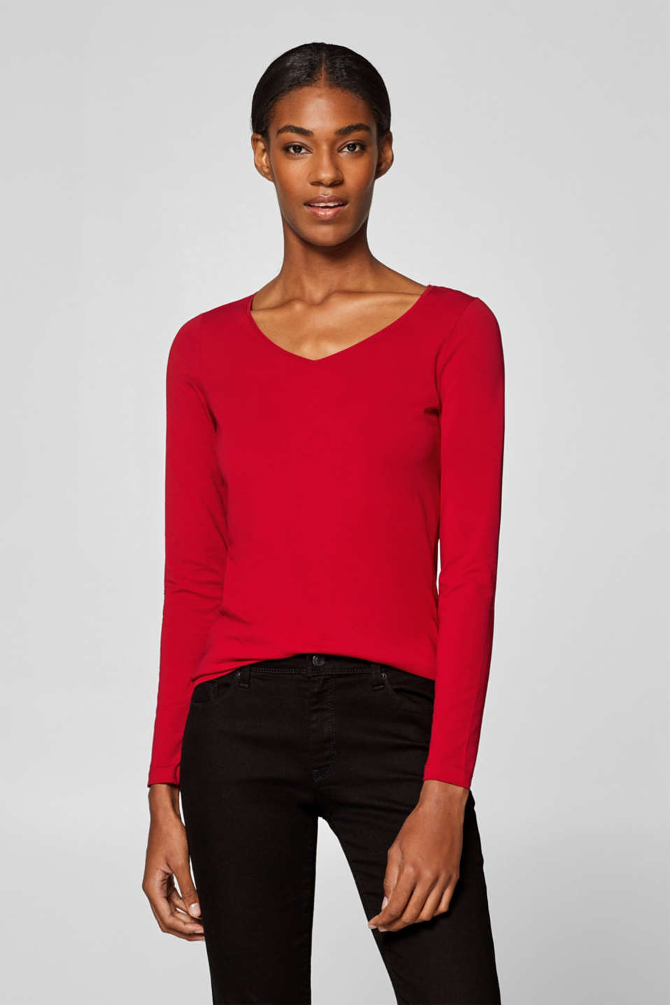 Esprit - Long sleeve top with a V-neckline and organic cotton