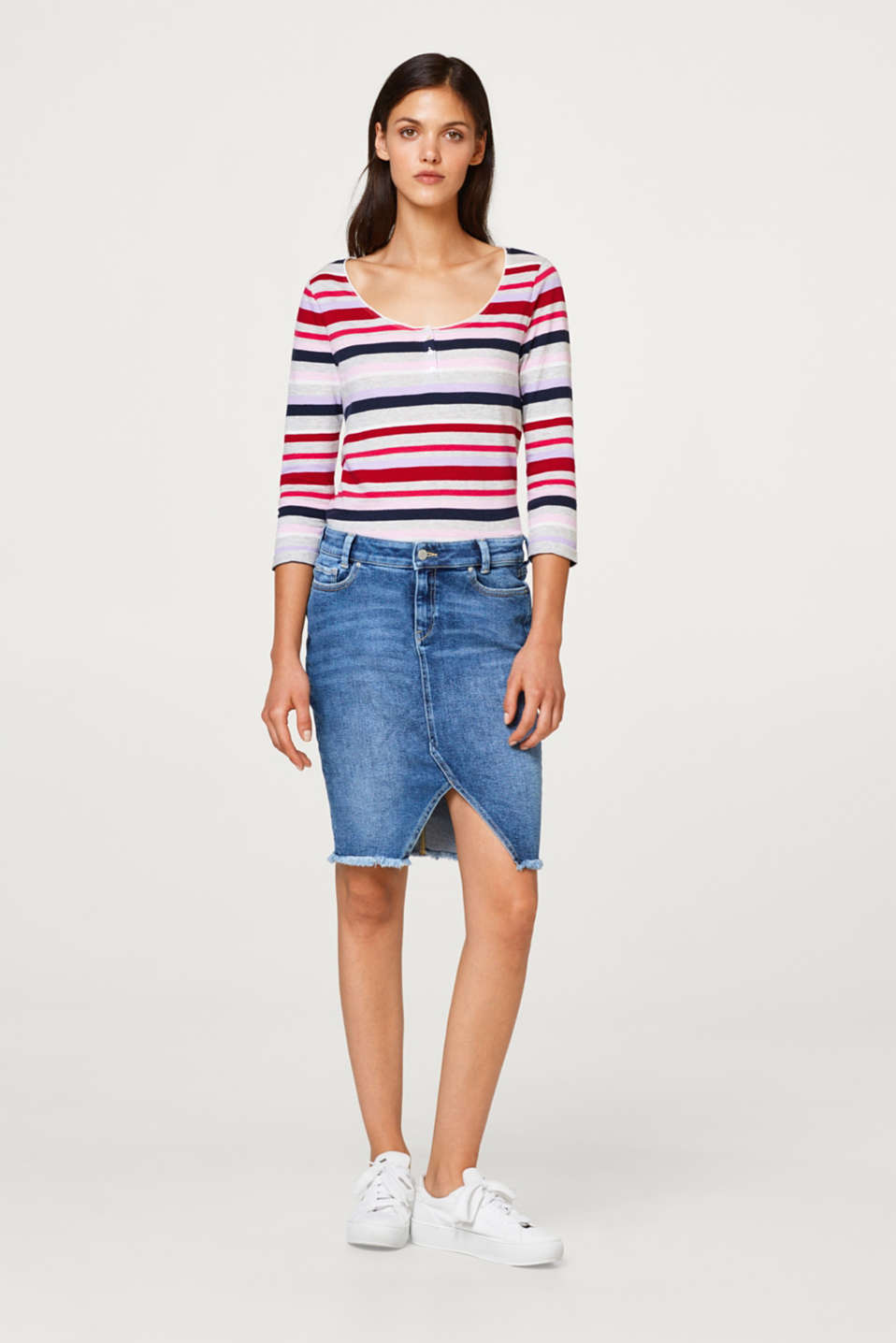 Striped top with a button placket