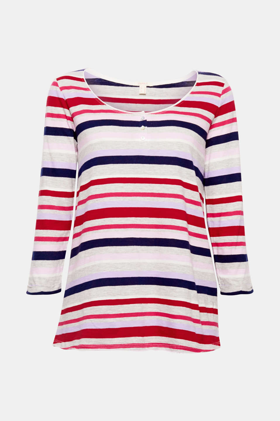 This colourfully striped top with a small button placket and three-quarter length sleeves is super soft and incredibly comfortable!