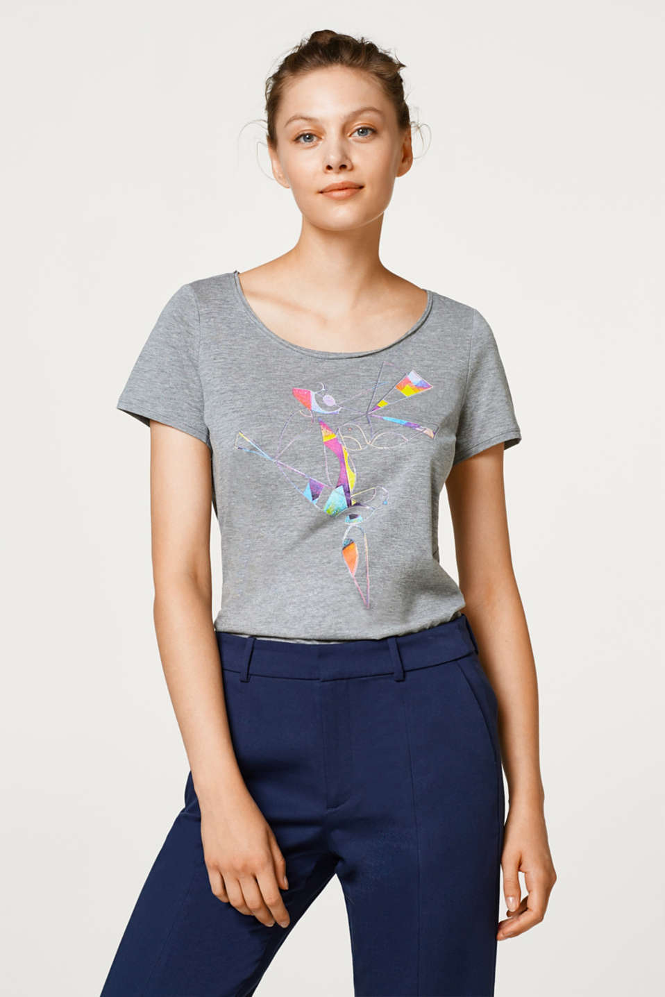 Esprit - Melange T-shirt with an origami print