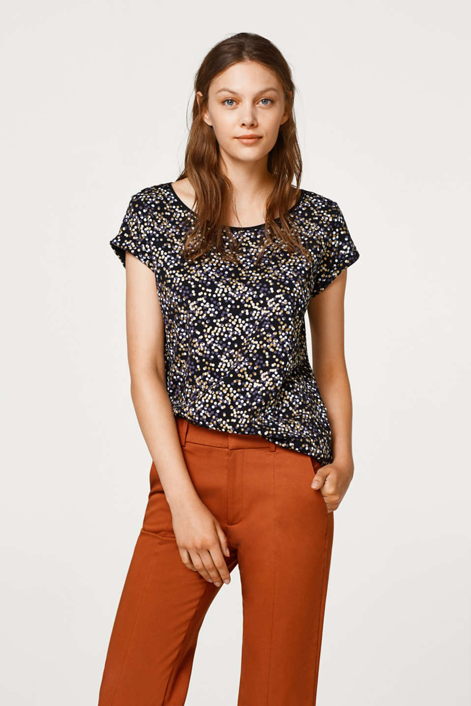 Esprit - Jersey top with a shiny print, 100% cotton