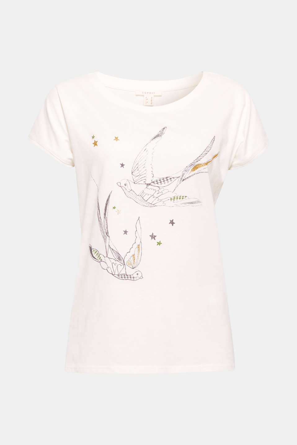 The glittery bird print gives this T-shirt in comfortable cotton a romantic, feminine look.