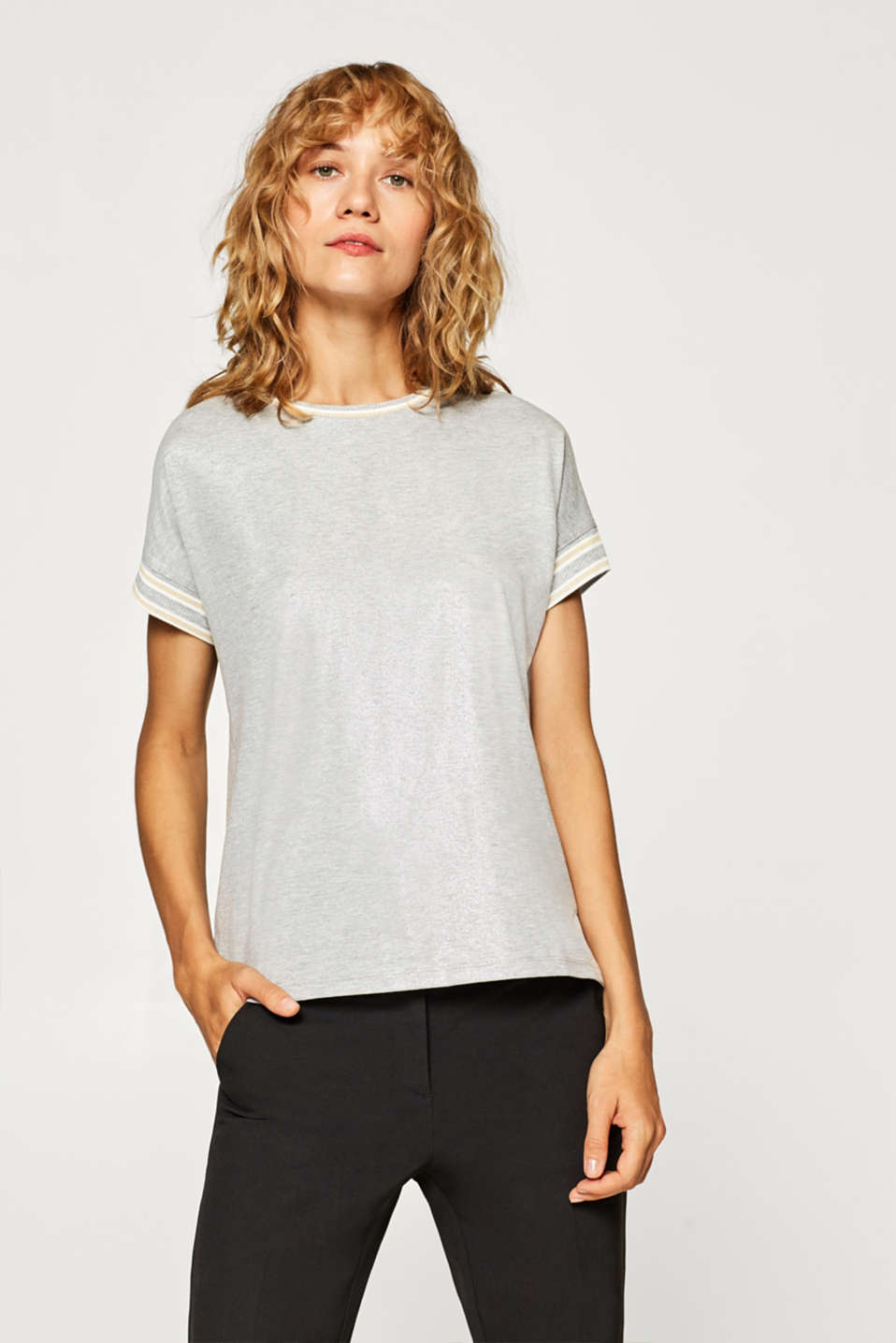 Esprit - Softly shimmering T-shirt with ribbed borders