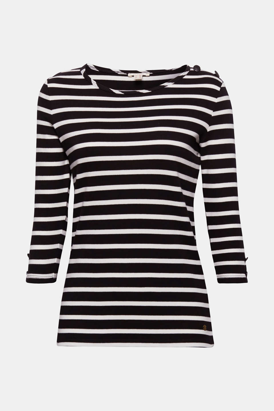 This super soft T-shirt with fashionable stripes and decorative crest buttons is a timeless classic!