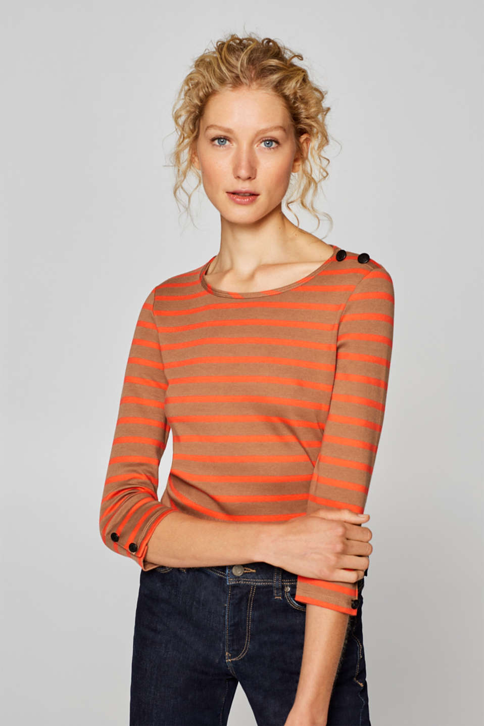Esprit - Striped T-shirt with buttons, 100% cotton