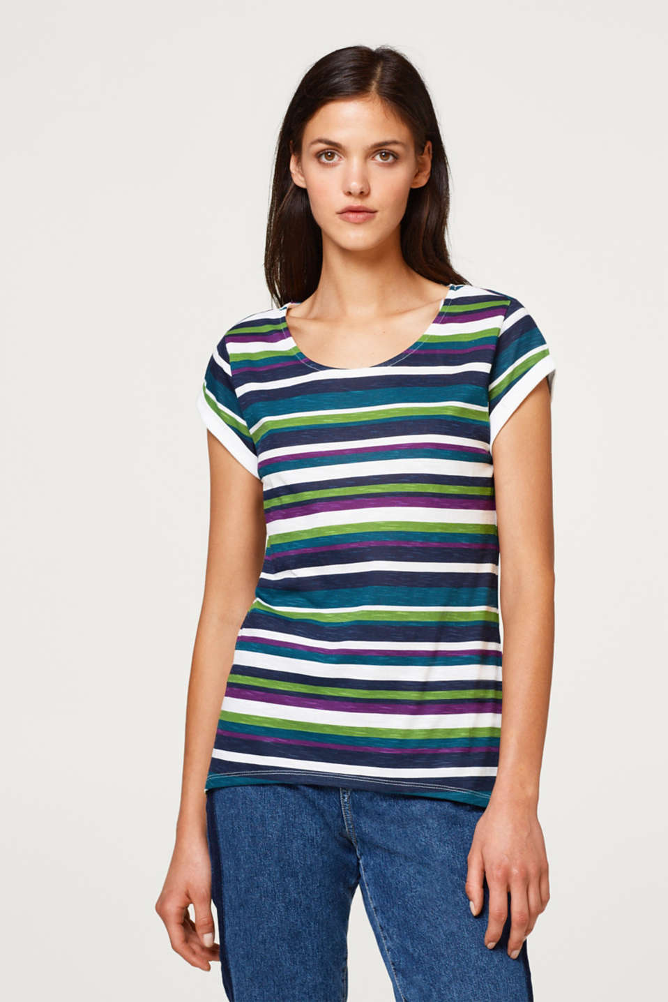 Esprit - Slub top with stripes, 100% cotton