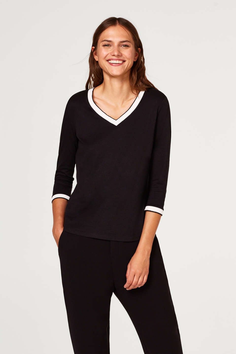 Esprit - Top with 3/4-length sleeves and contrasting borders
