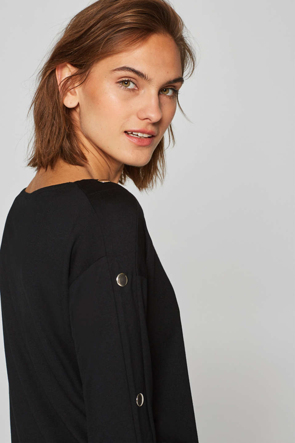 Esprit - Stretch long sleeve top with decorative buttons