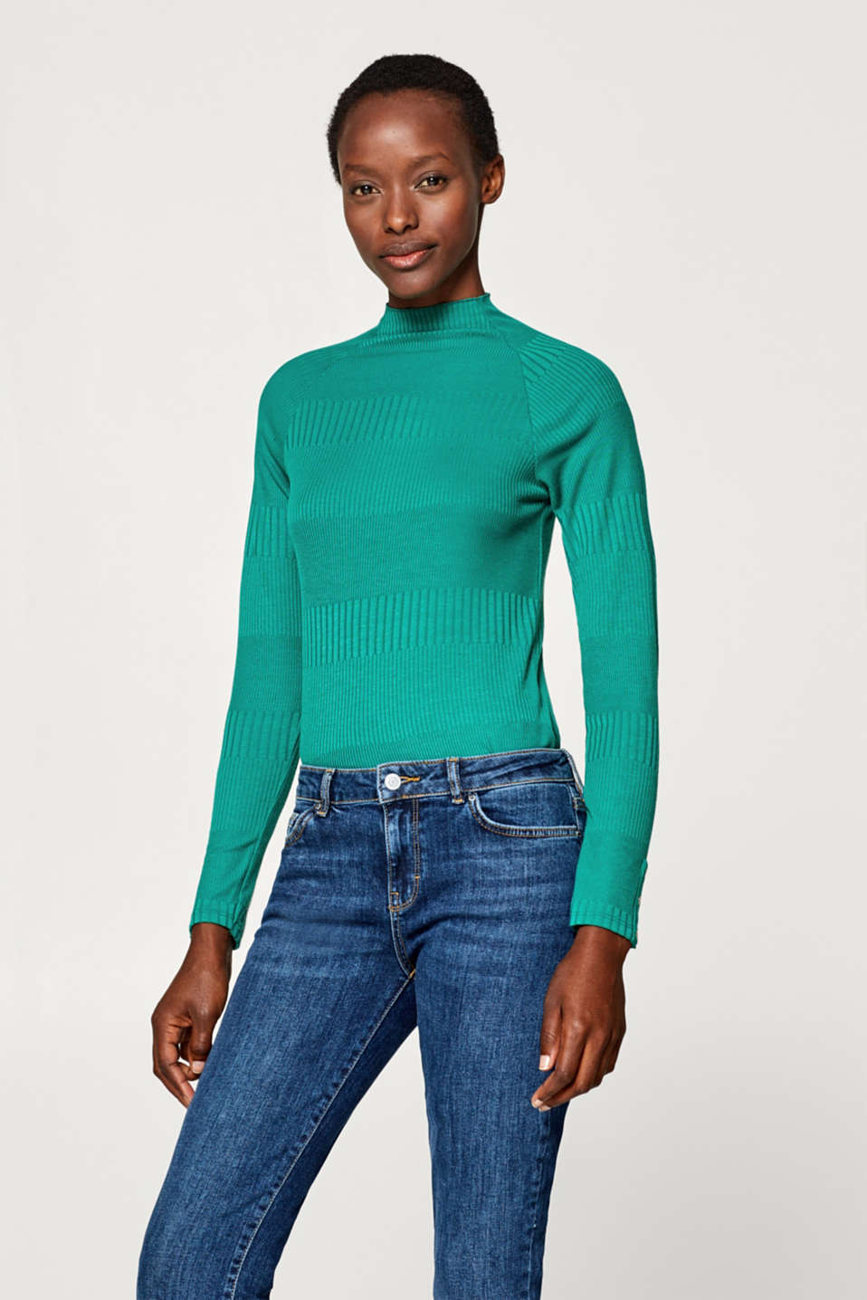 Esprit - Long sleeve top with a relief texture
