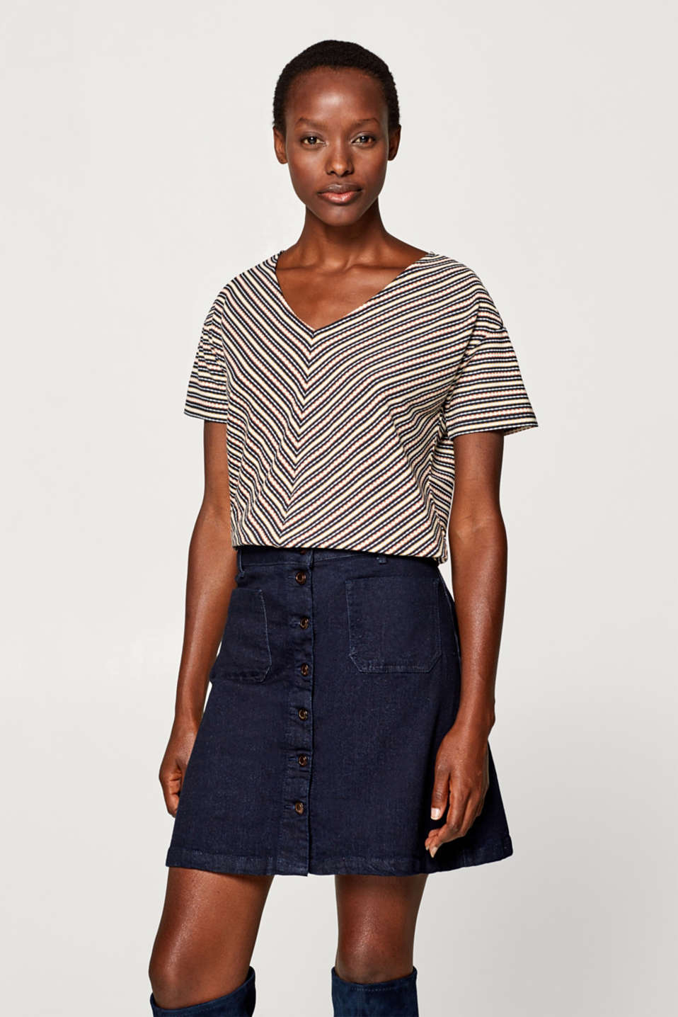 Esprit - Top with a jacquard pattern