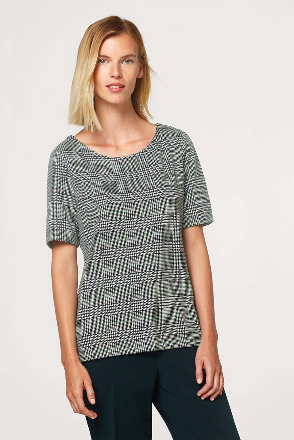 Esprit - Jersey T-shirt with a glencheck pattern