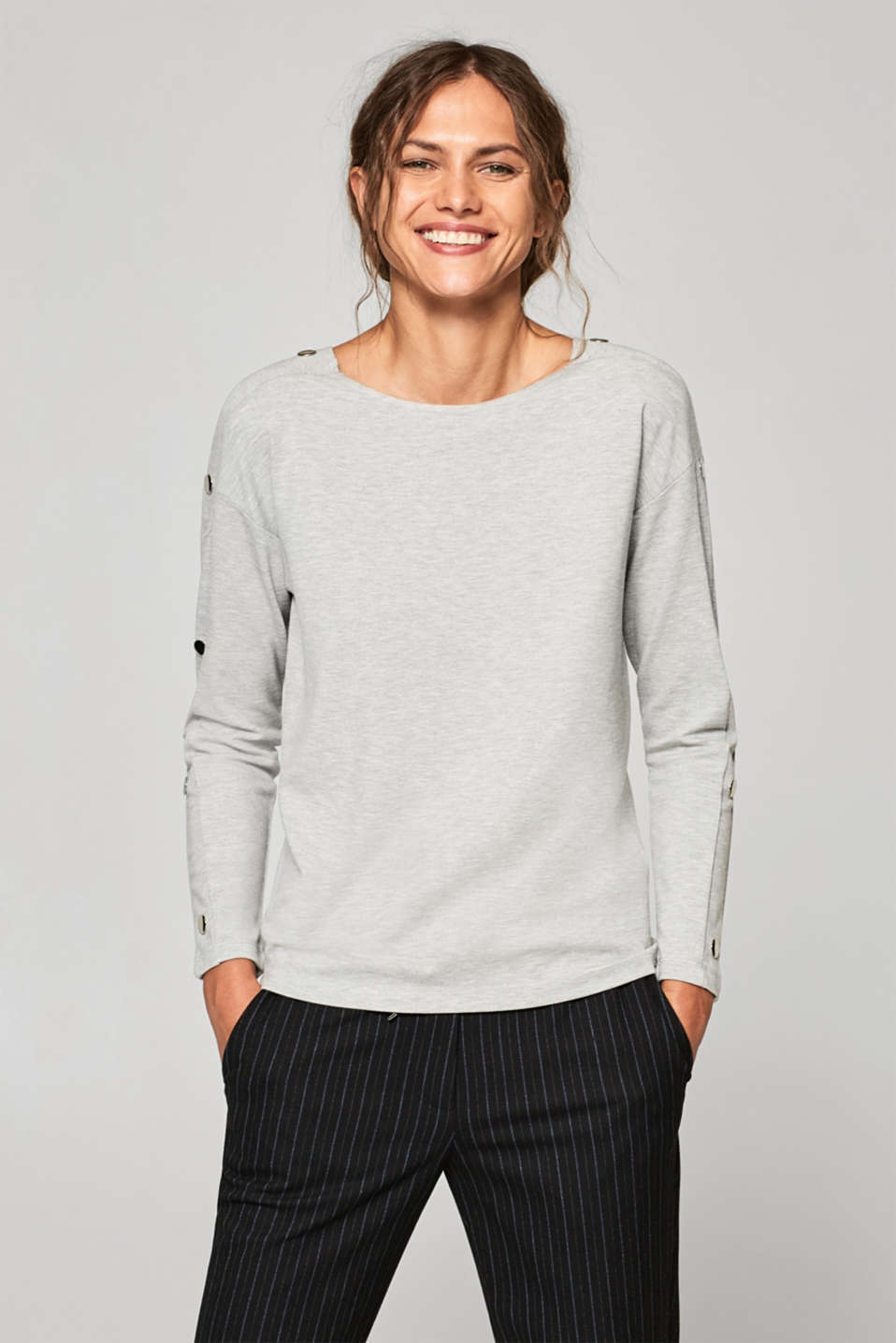 Esprit - Long sleeve top with decorative button plackets and stretch