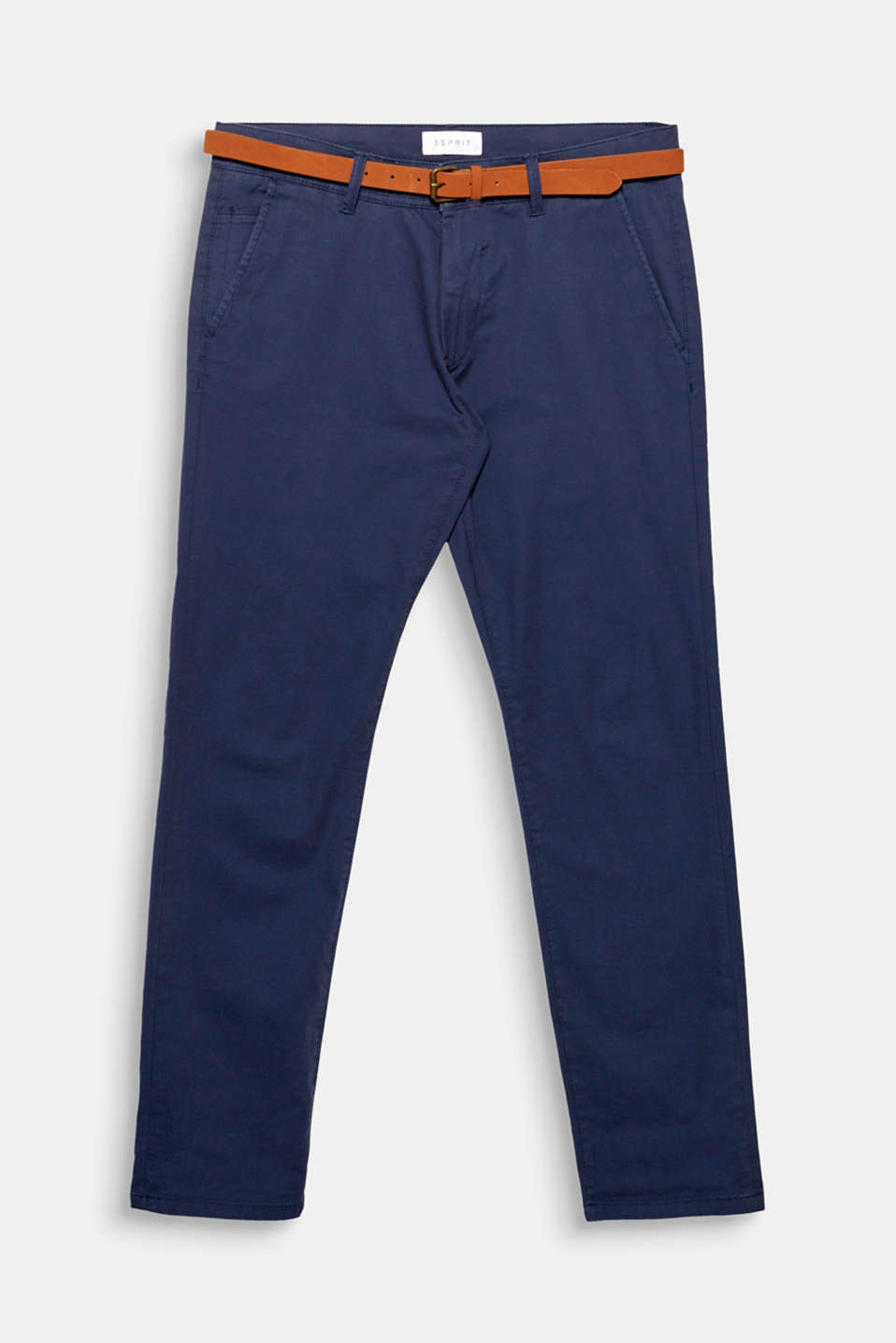 A fashion classic that should not be missing from any wardrobe: slim-fitting cotton stretch trousers with a belt.
