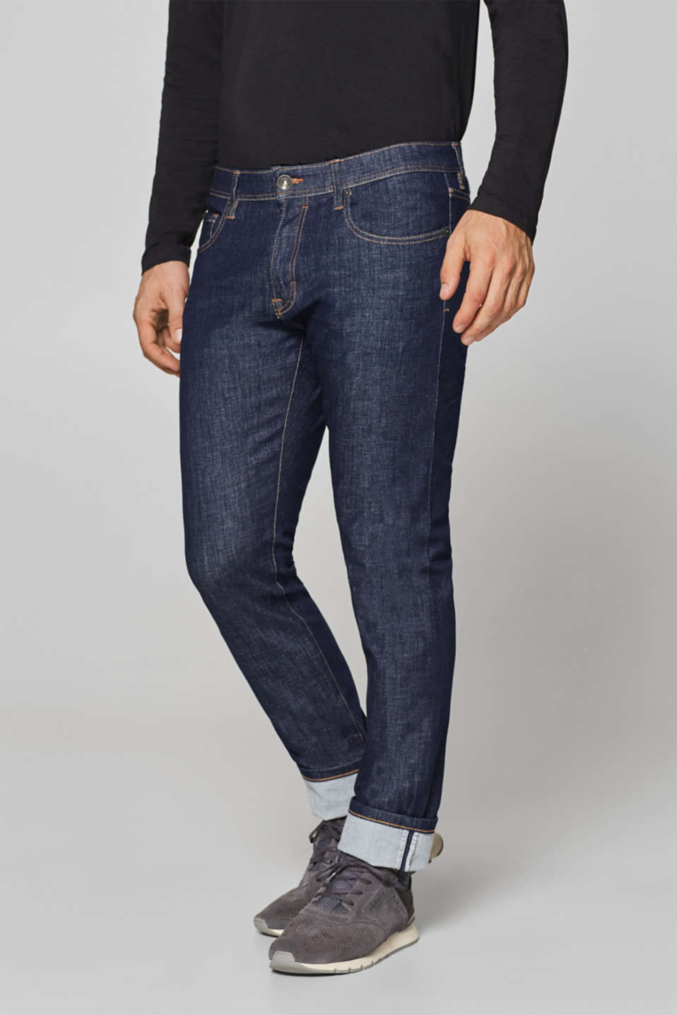 Esprit - Super stretchy jeans with reflective tape