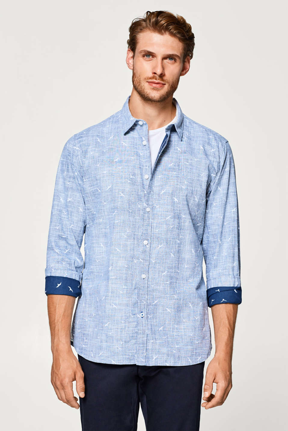 Esprit - Shirt with a bird print, 100% cotton