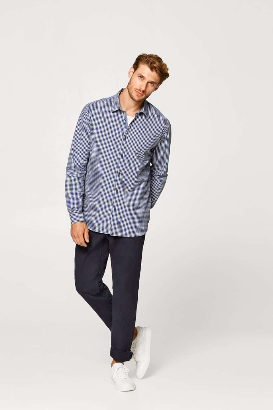 Shirt with a check pattern, 100% cotton