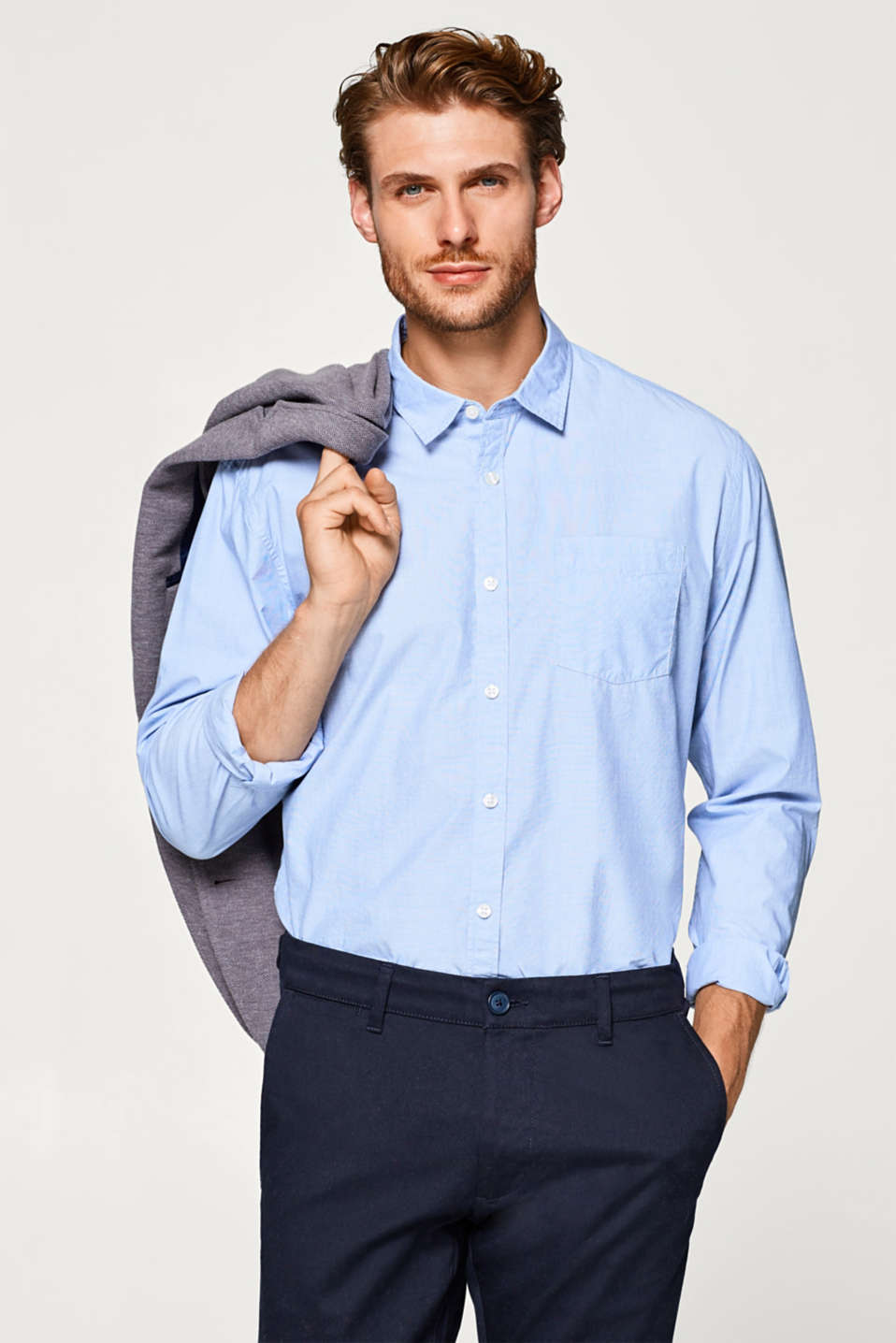 Esprit - Shirt made of end-on-end fabric, 100% cotton