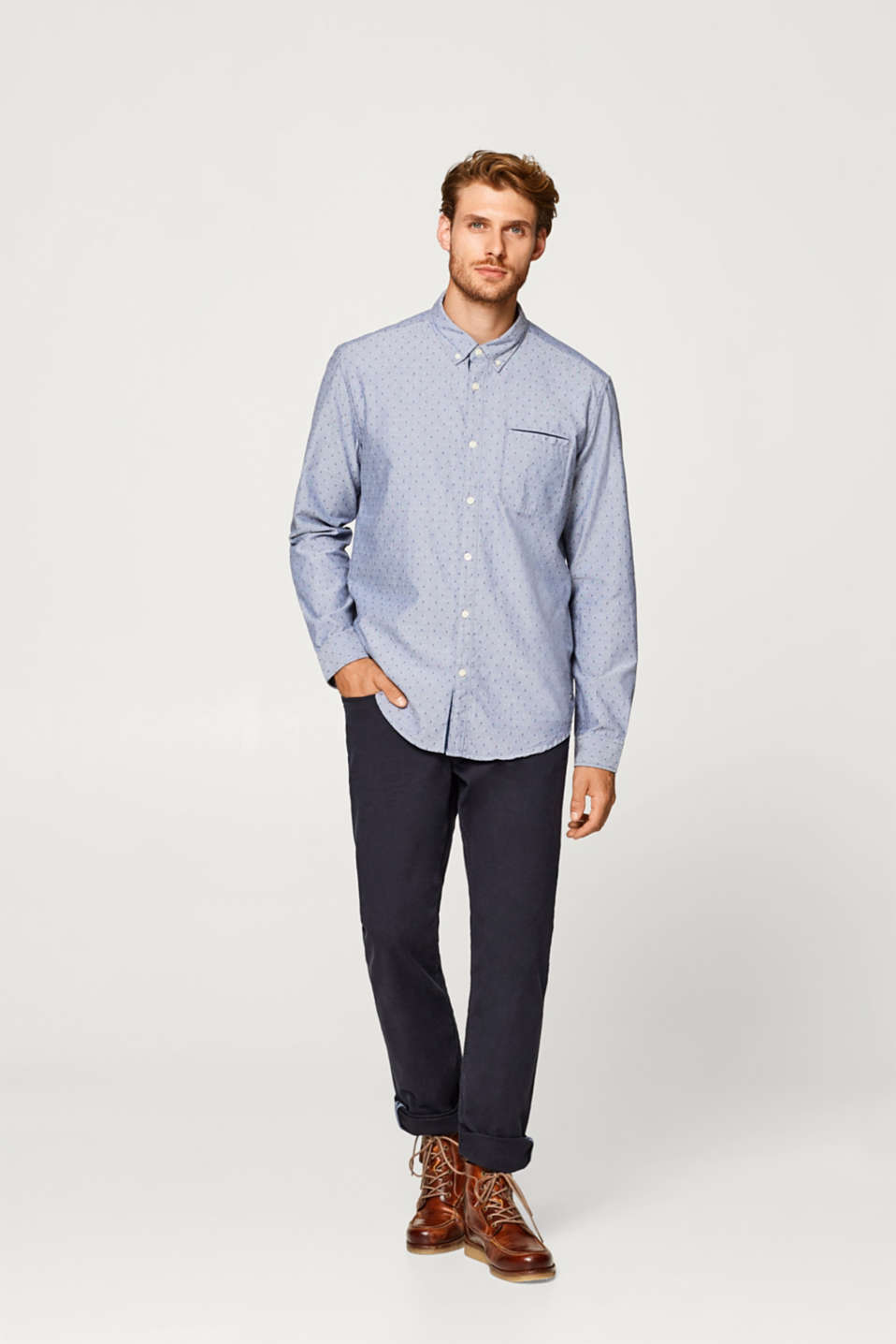 Esprit - Shirt with a diamond embroidery, 100% cotton