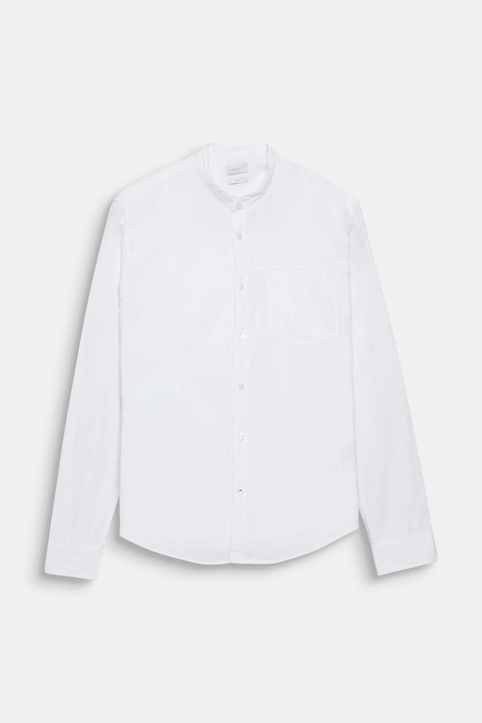 The two-tone texture and narrow stand-up collar give this shirt its authentic look.