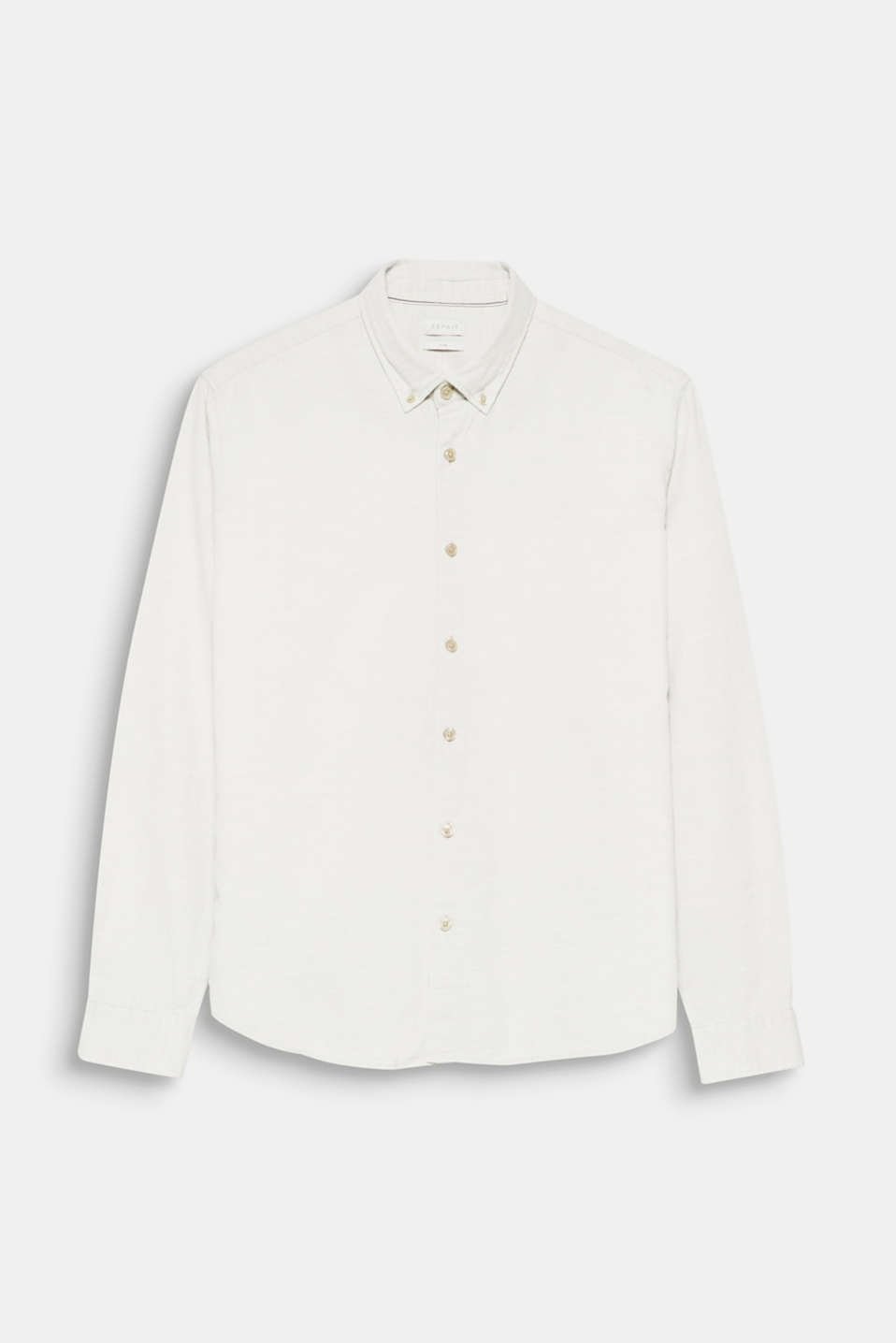 This classic, button-down shirt with a fine, woven texture and melange finish gives your wardrobe a fashionable update.
