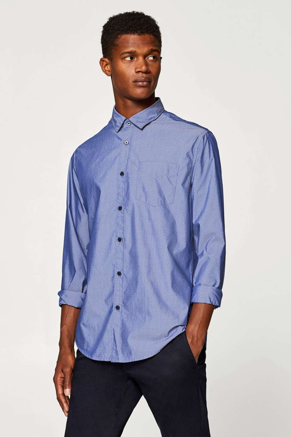 Esprit - Chambray shirt with COOLMAX®