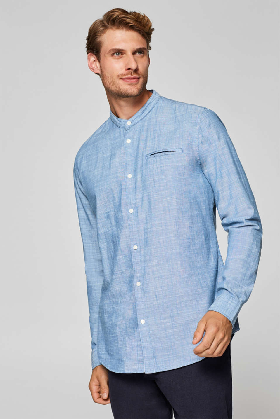 Esprit - Chambray shirt with a band collar, 100% cotton