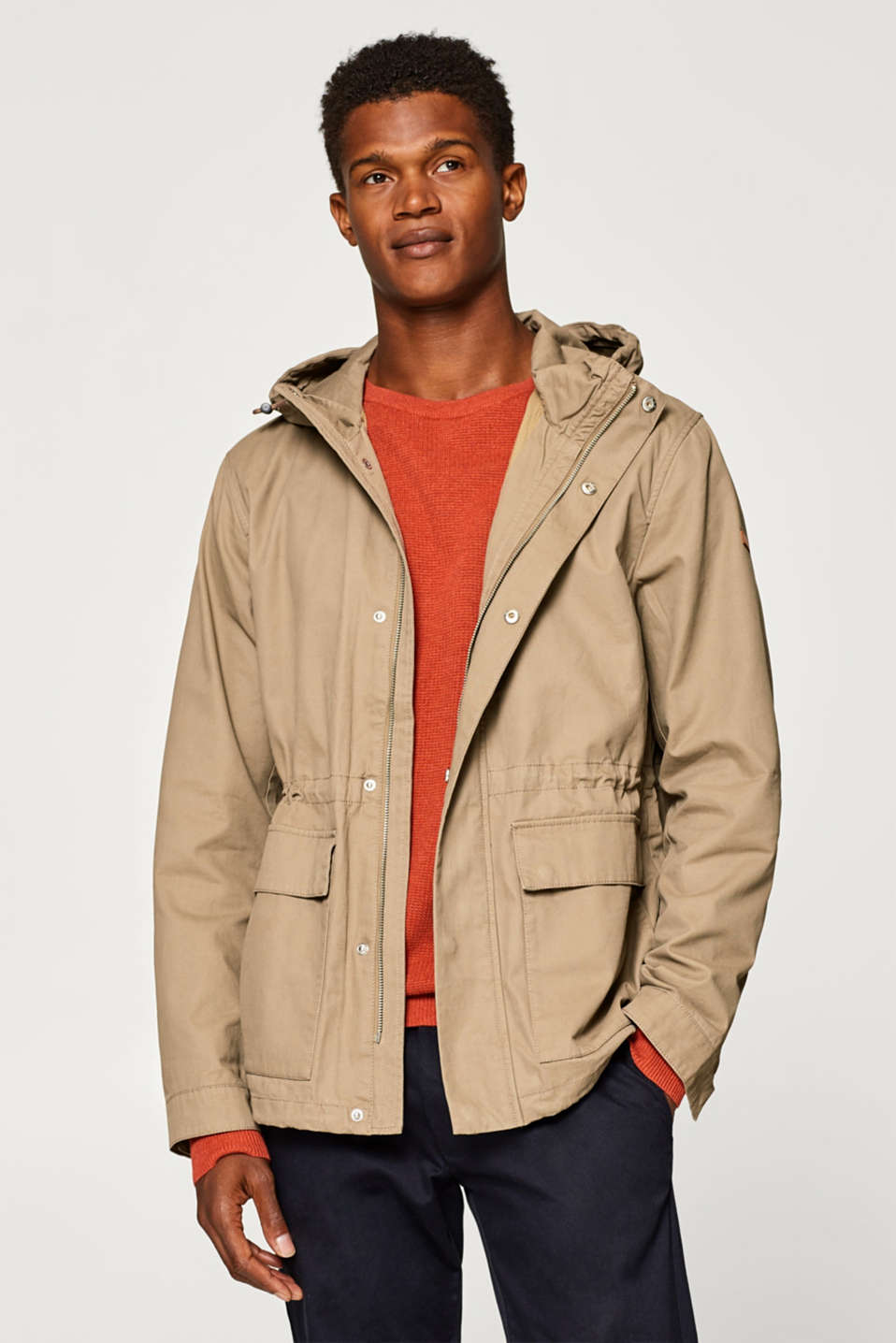 Esprit - Short, hooded parka in 100% cotton