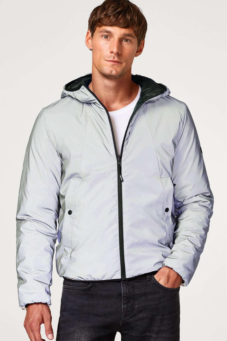 Esprit - Reflective reversible jacket with a hood