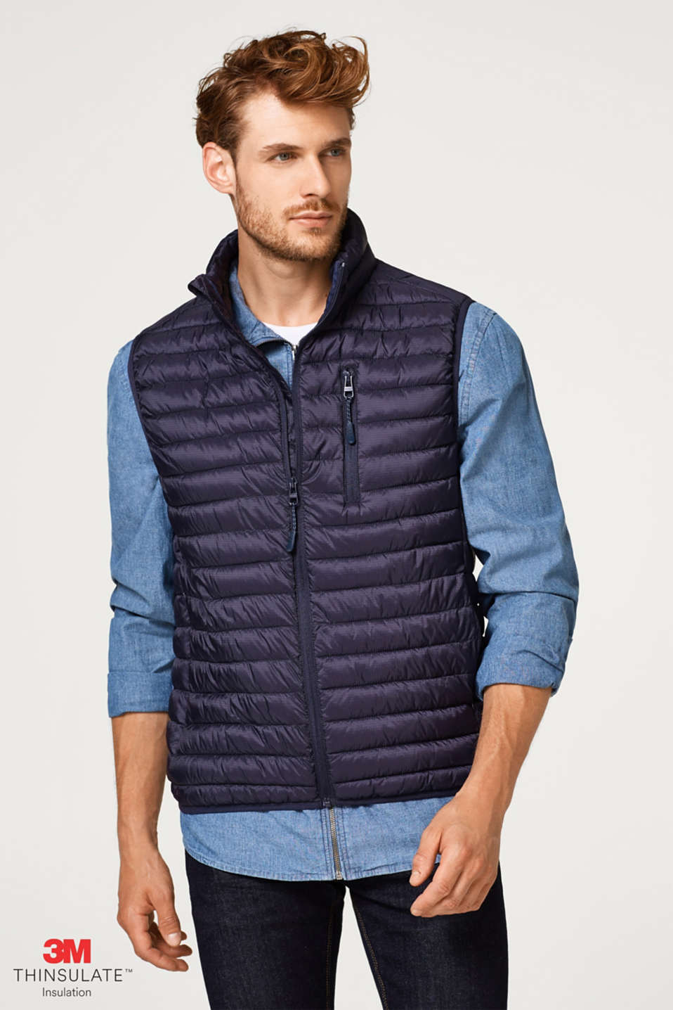 Esprit - Quilted gilet with Thinsulate filling