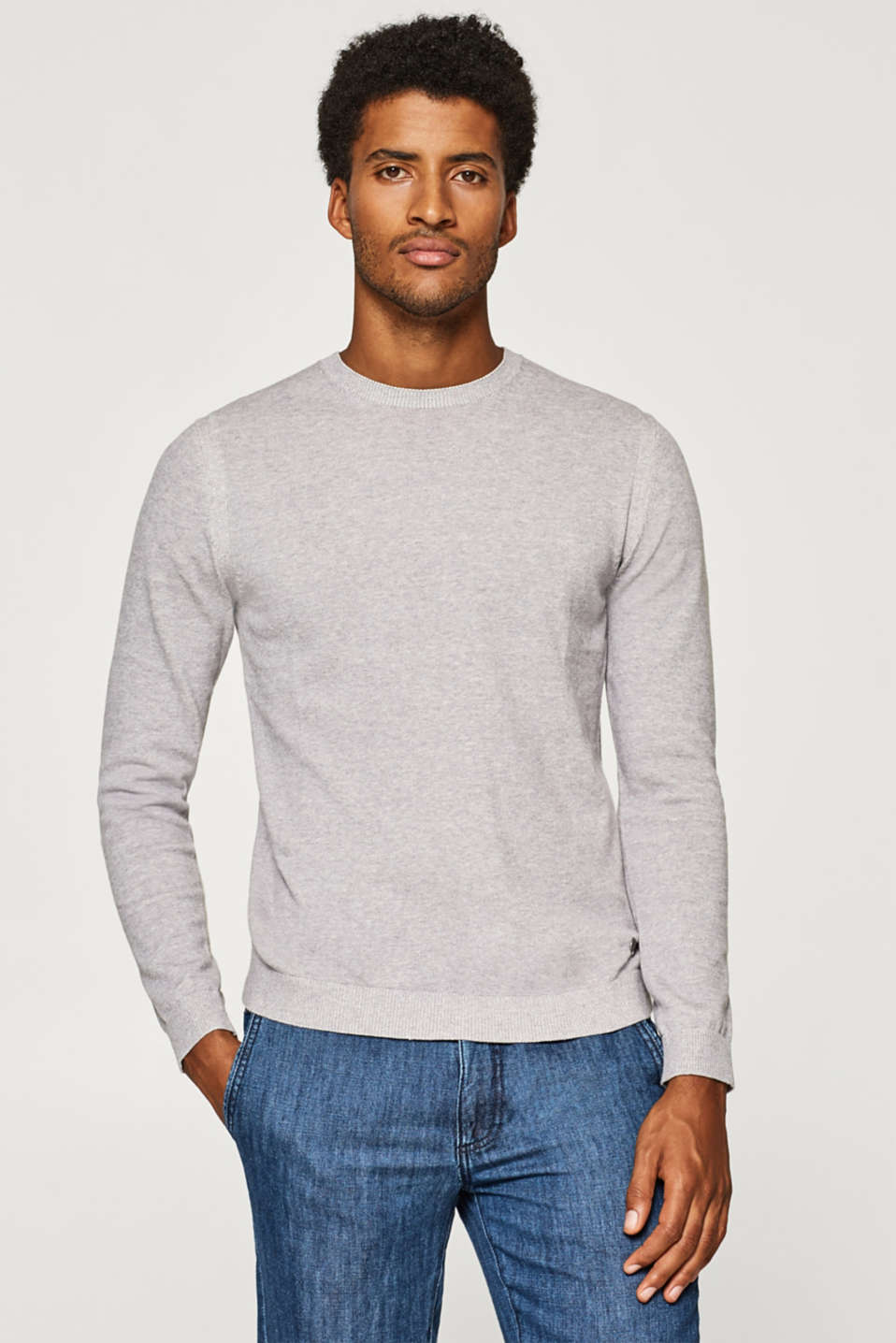 Esprit - Two-tone melange jumper in 100% cotton