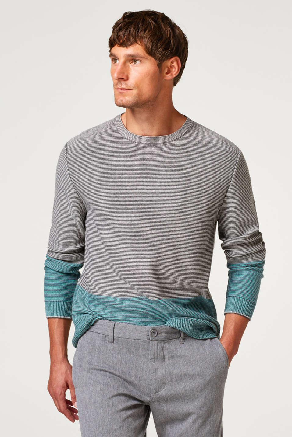 Esprit - Textured knit jumper, 100% cotton