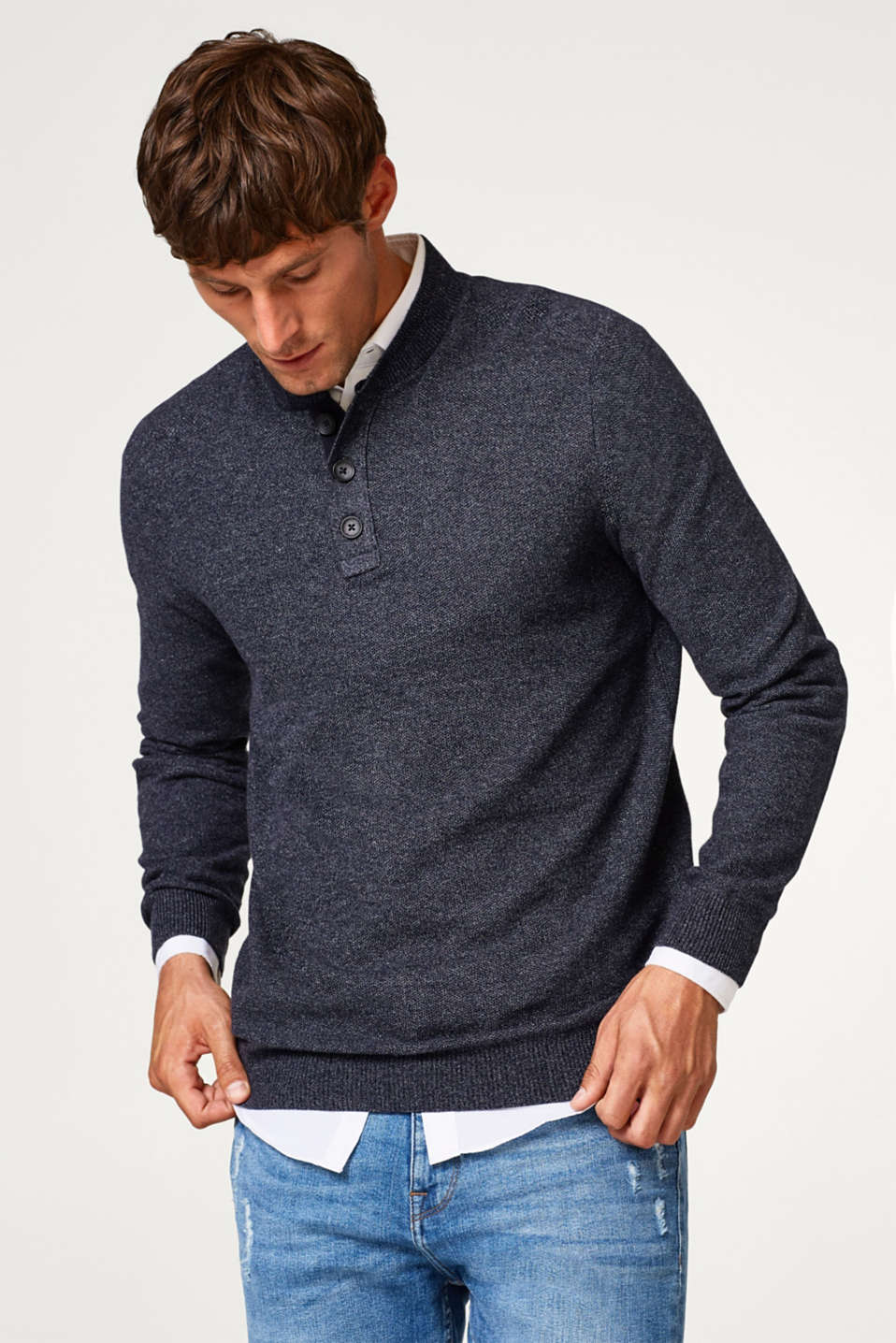 Esprit - Henley knit jumper, 100% cotton