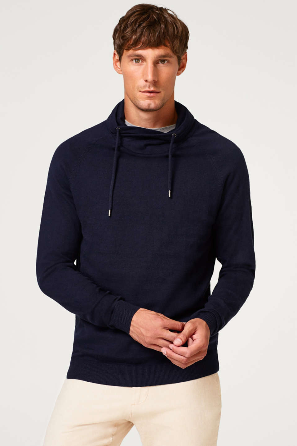 Esprit - With cashmere: fine knit hoodie
