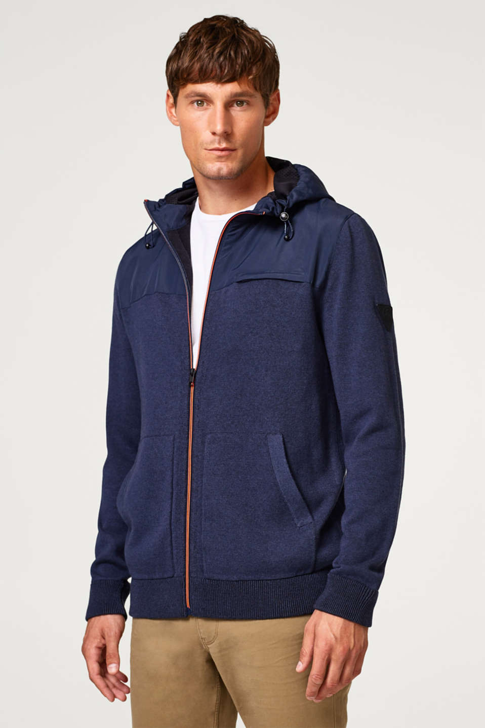 Esprit - Zip-up cardigan with a nylon hood