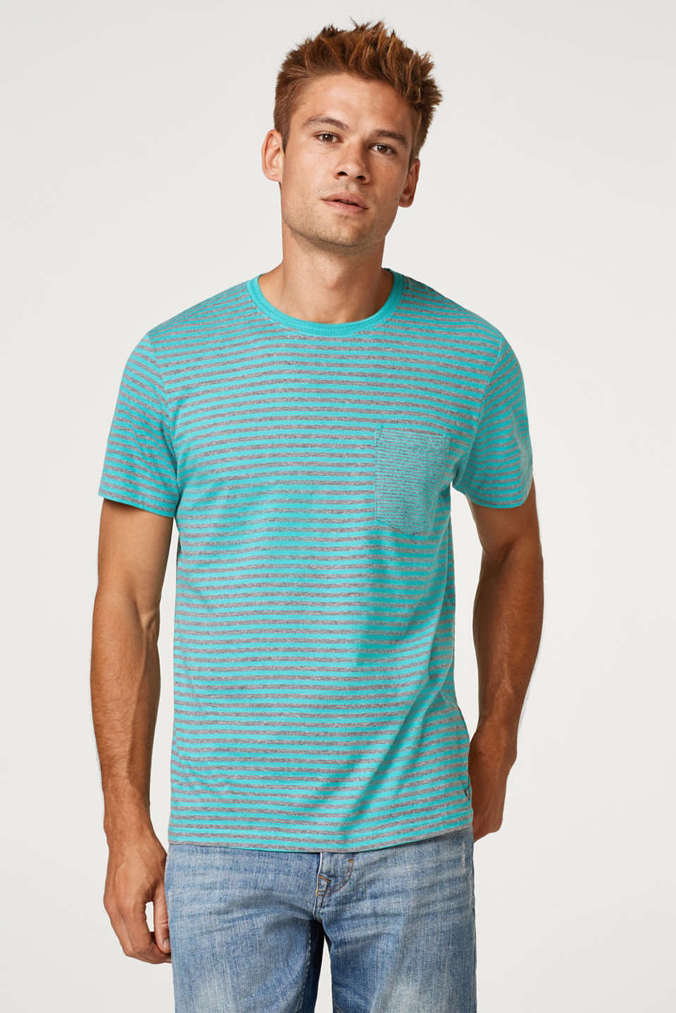 Esprit - Striped jersey T-shirt in blended cotton