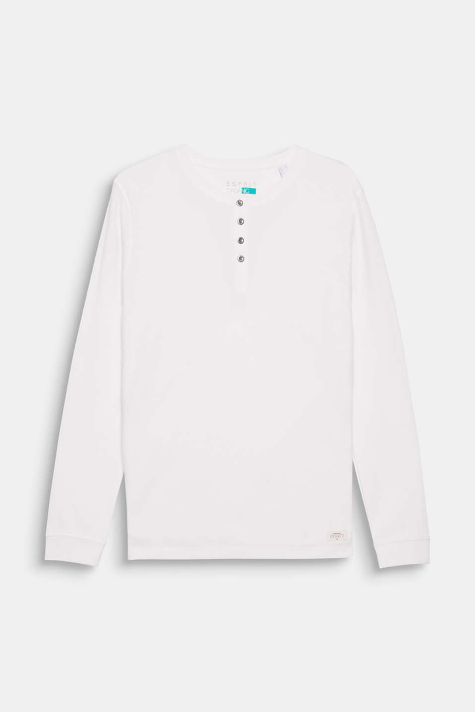 An elegant basic: long sleeve top with a round neckline containing environmentally friendly, premium organic cotton.