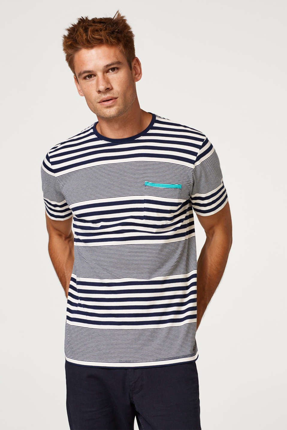 Esprit - Jersey T-shirt with stripes, 100% cotton