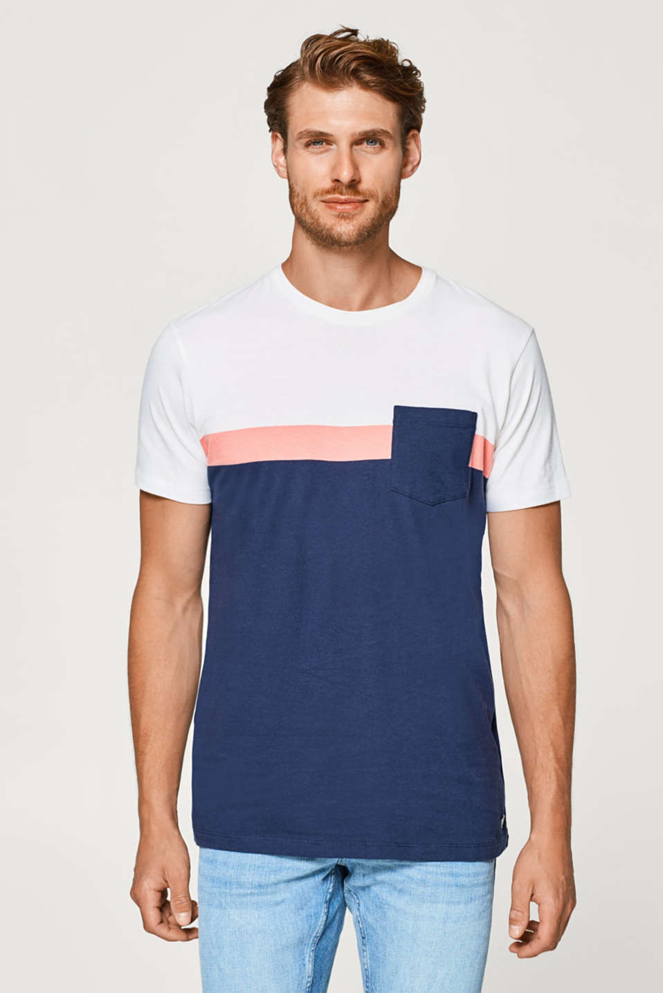 Esprit - Jersey T-shirt with block stripes, 100% cotton